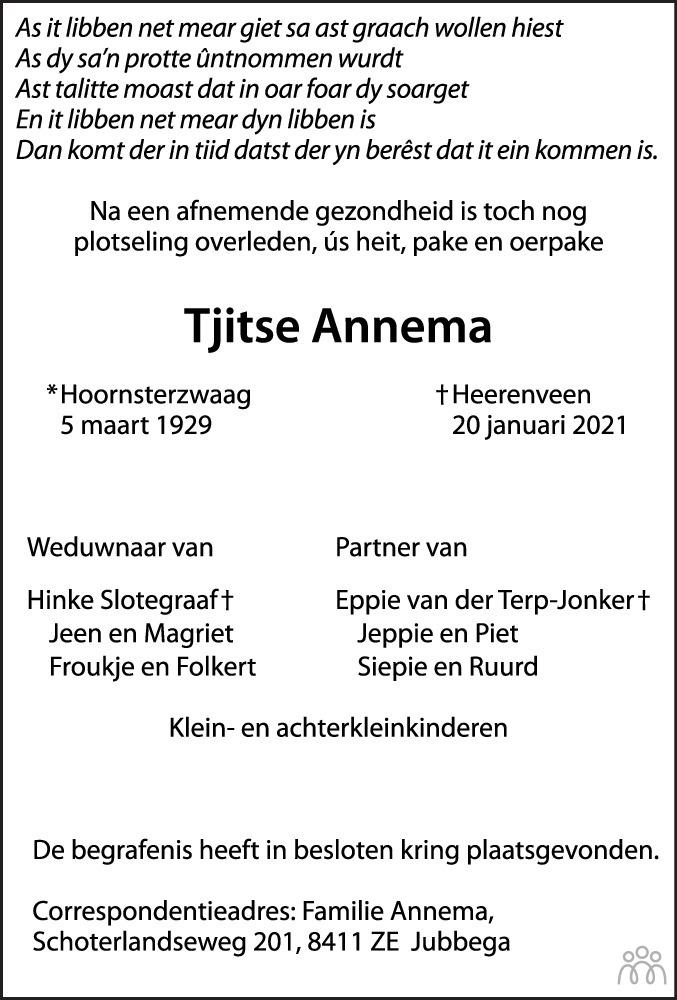 Overlijdensbericht van Tjitse Annema in Heerenveense Courant