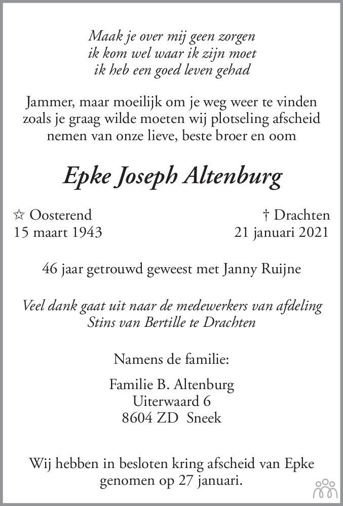 Overlijdensbericht van Epke Joseph Altenburg in Bolswards Nieuwsblad