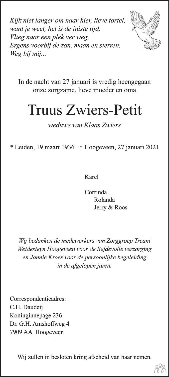 Overlijdensbericht van Truus Zwiers-Petit in Hoogeveensche Courant