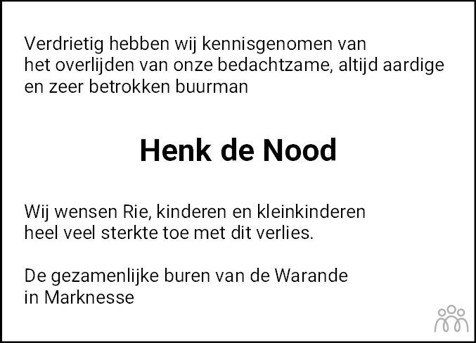 Overlijdensbericht van Hendrik de Nood in Noordoostpolder
