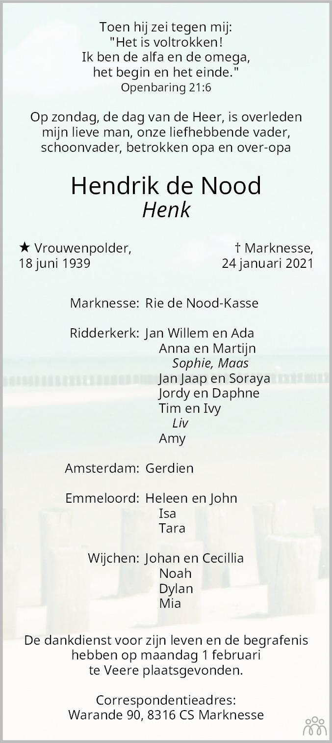 Overlijdensbericht van Hendrik de Nood in Flevopost Dronten