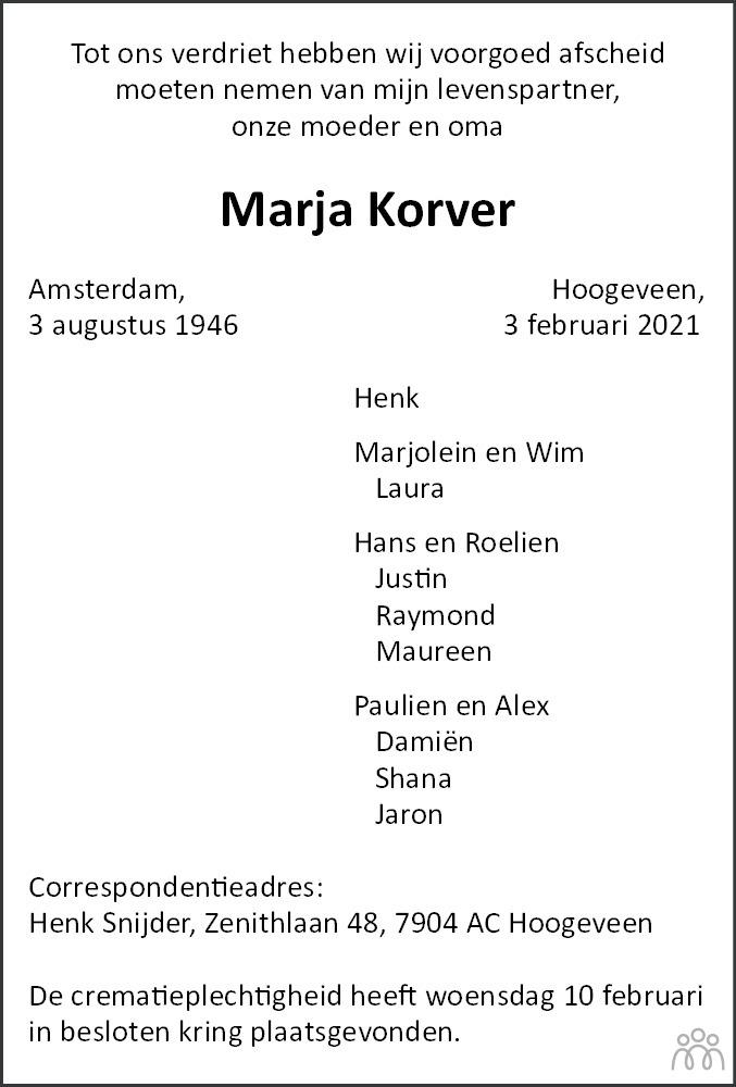 Overlijdensbericht van Marja Korver in Hoogeveensche Courant