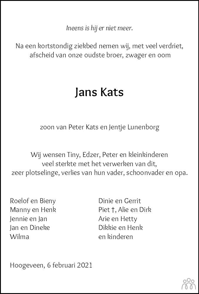 Overlijdensbericht van Johannes Roelof (Jans) Kats in Hoogeveensche Courant