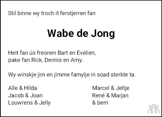 Overlijdensbericht van Wabe de Jong in Leeuwarder Courant