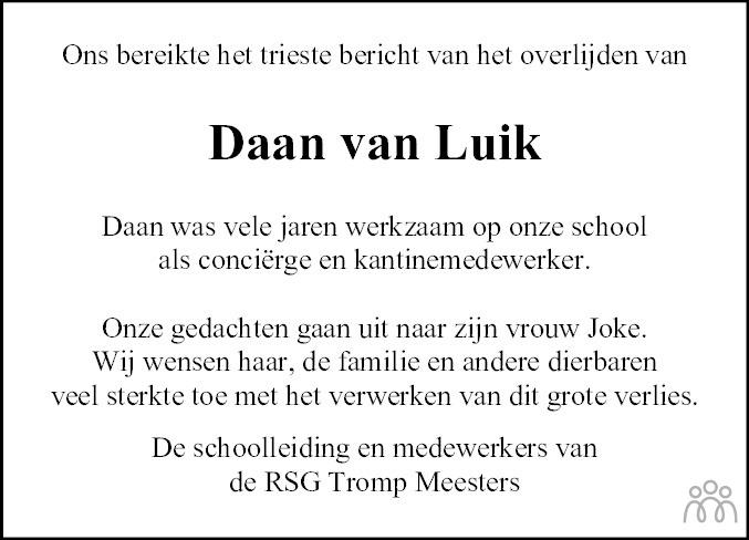 Overlijdensbericht van Daan van Luik in Meppeler Courant