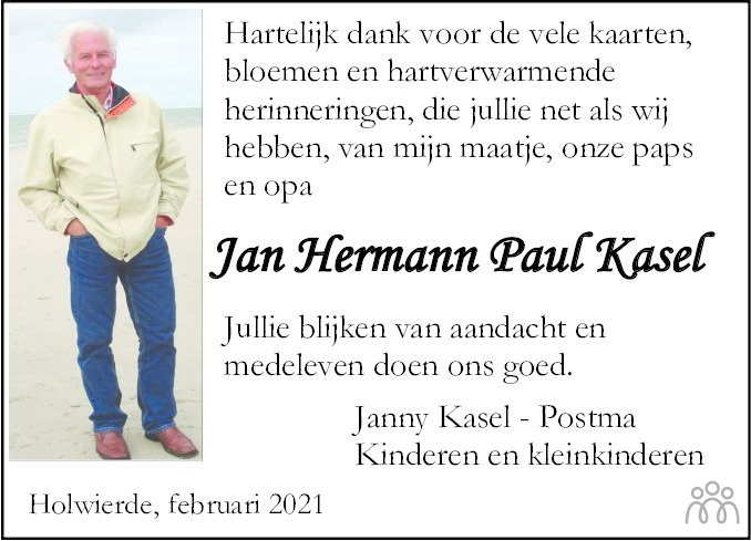 Overlijdensbericht van Jan Hermann Paul Kasel in Dagblad van het Noorden