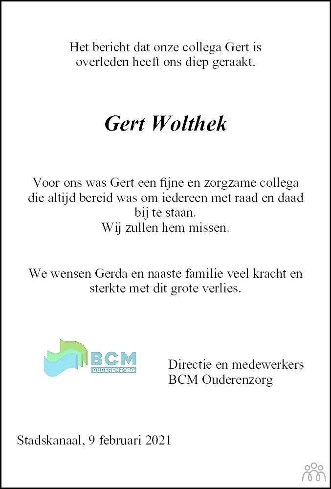 Overlijdensbericht van Gert Wolthek in Dagblad van het Noorden