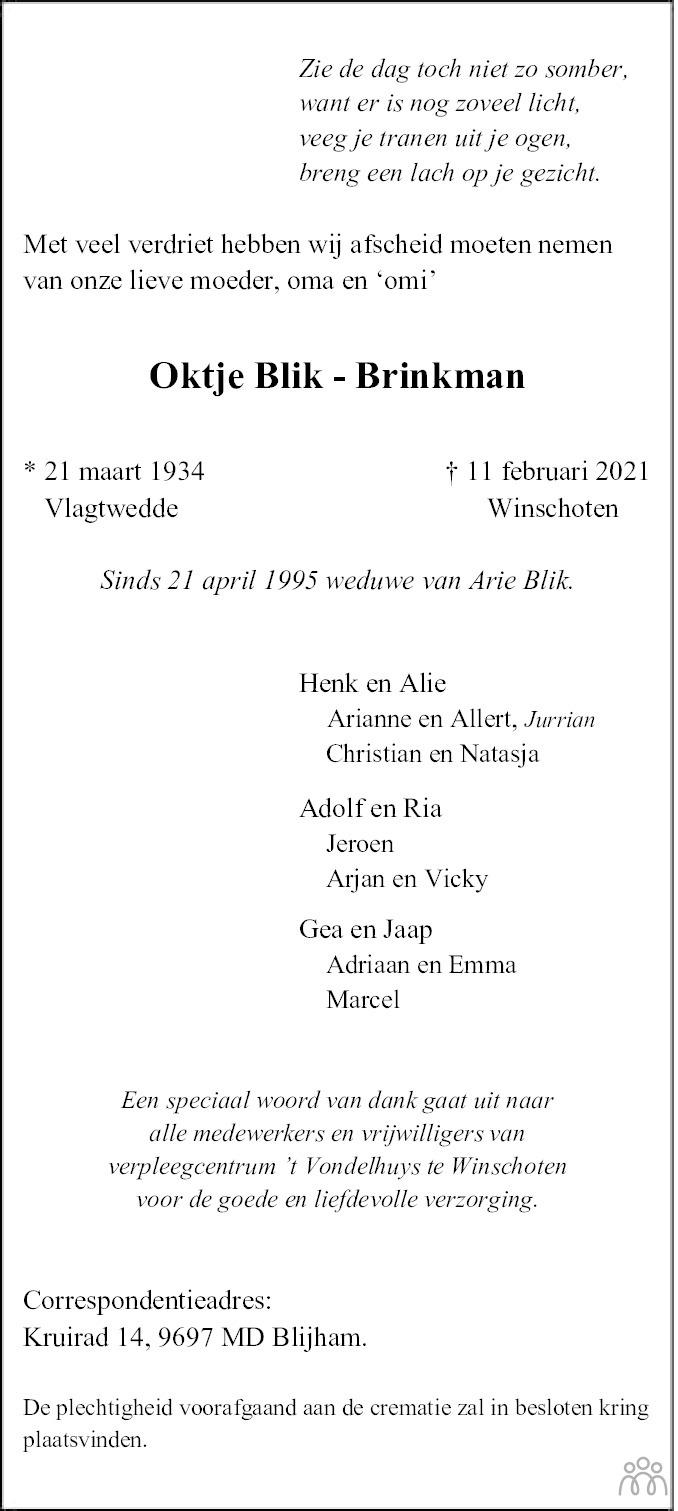 Overlijdensbericht van Oktje Blik-Brinkman in Dagblad van het Noorden