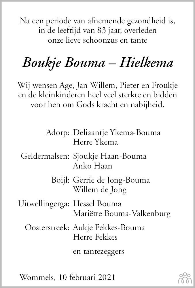 Overlijdensbericht van Boukje Bouma-Hielkema in Friesch Dagblad