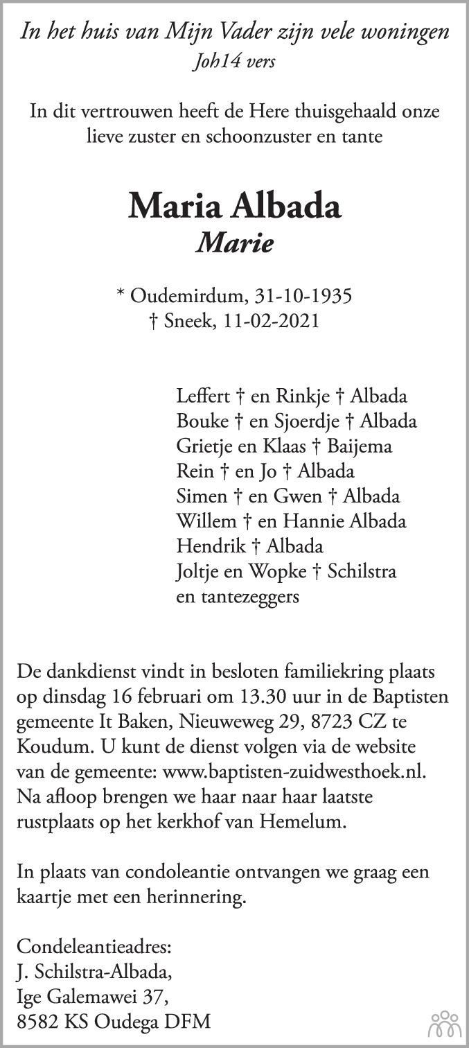 Overlijdensbericht van Maria (Marie) Albada in Leeuwarder Courant