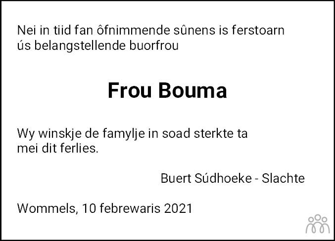 Overlijdensbericht van Boukje Bouma-Hielkema in Leeuwarder Courant