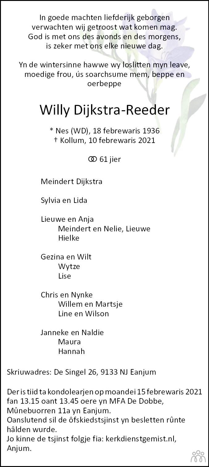 Overlijdensbericht van Willy Dijkstra-Reeder in Leeuwarder Courant