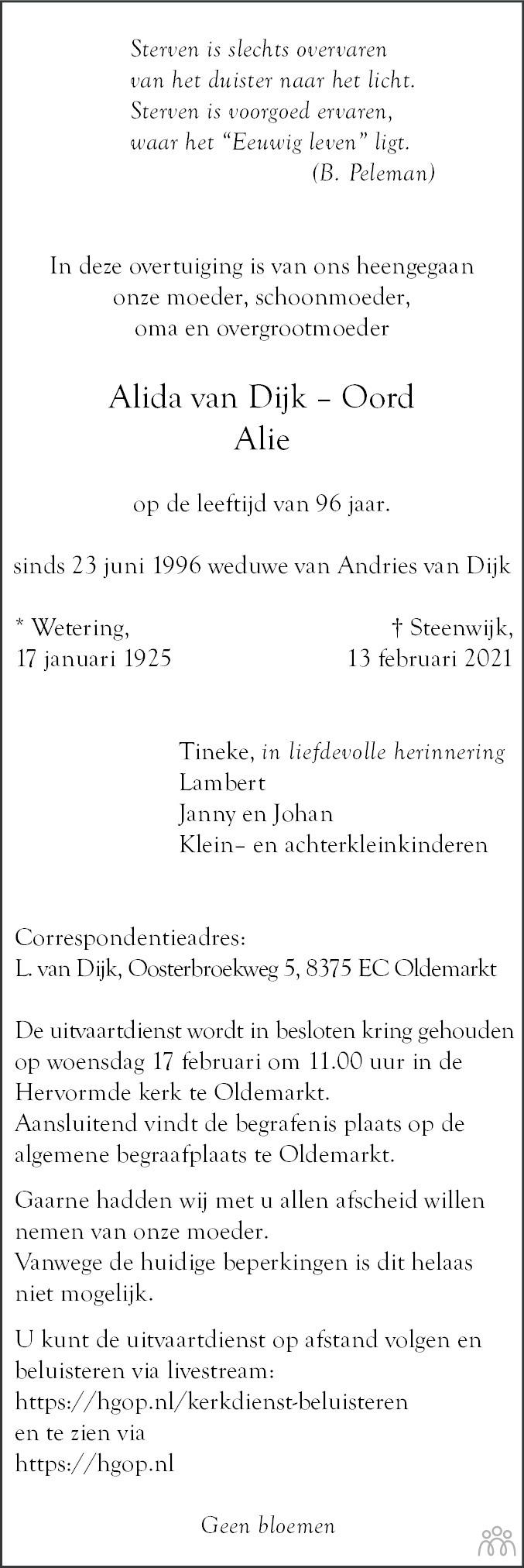 Overlijdensbericht van Alida (Alie) van Dijk-Oord in Meppeler Courant
