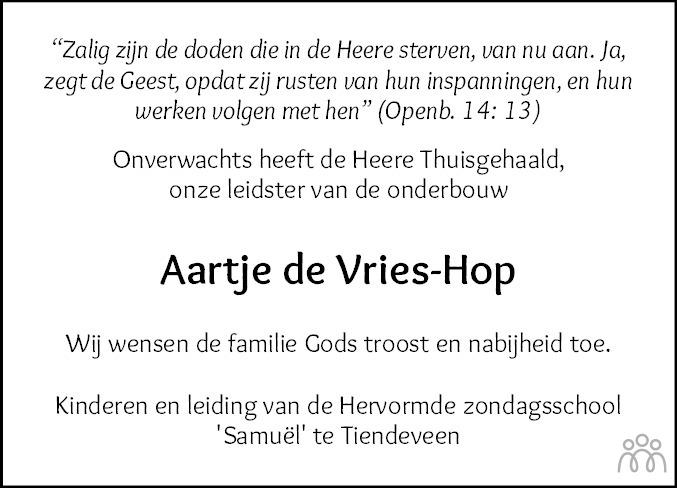 Overlijdensbericht van Aartje de Vries-Hop in Hoogeveensche Courant