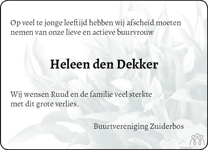 Overlijdensbericht van Heleen den Dekker in Steenwijker Courant
