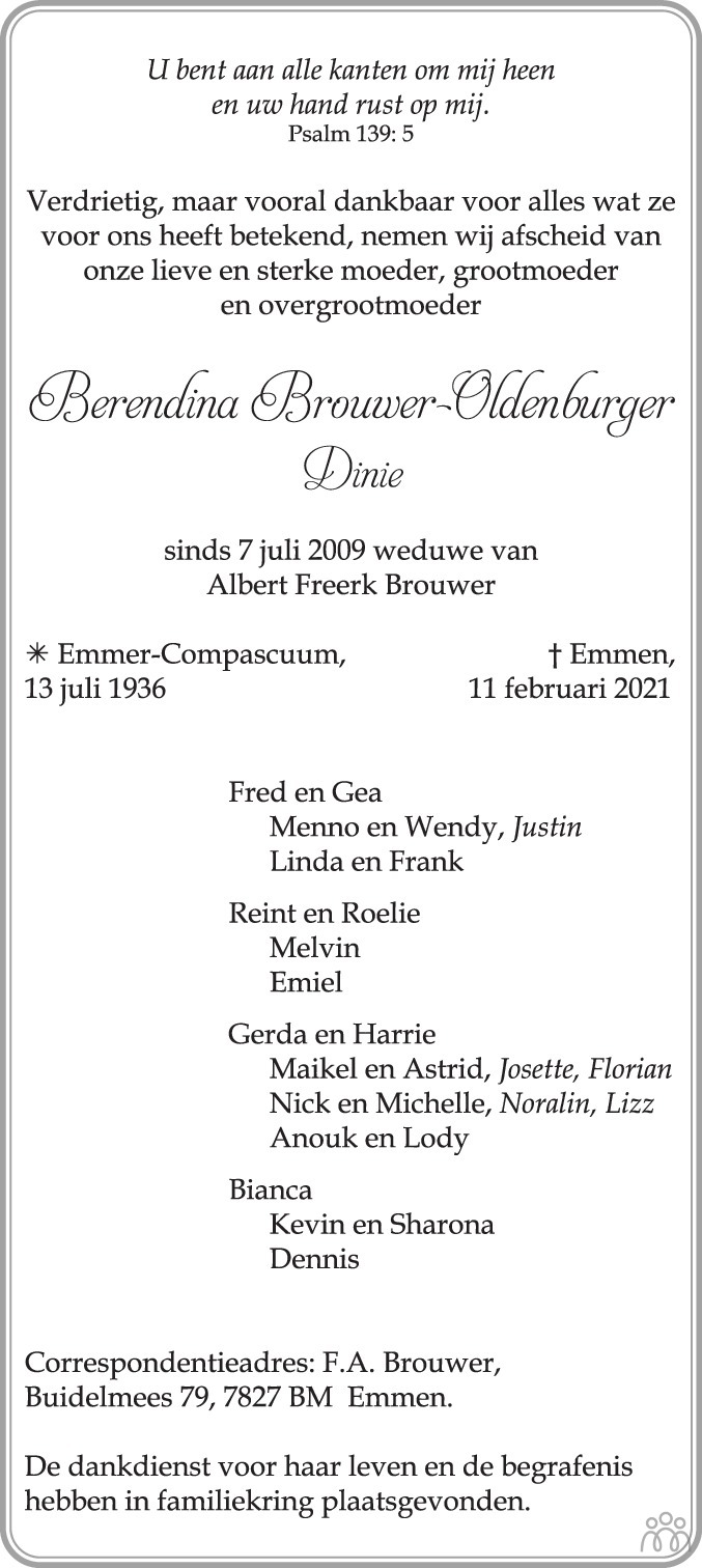 Overlijdensbericht van Berendina (Dinie) Brouwer-Oldenburger in Emmen Nu