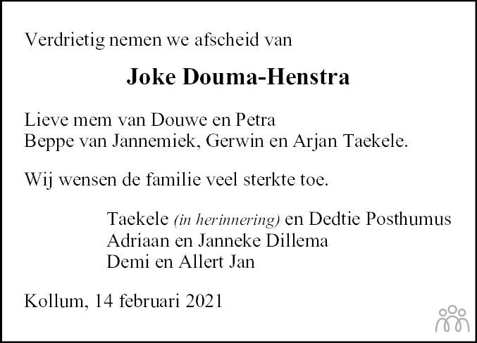 Overlijdensbericht van Joke Douma-Henstra in Nieuwsblad Noordoost-Friesland