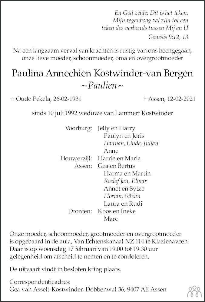 Overlijdensbericht van Paulina Annechien (Paulien) Kostwinder-van Bergen in Dagblad van het Noorden