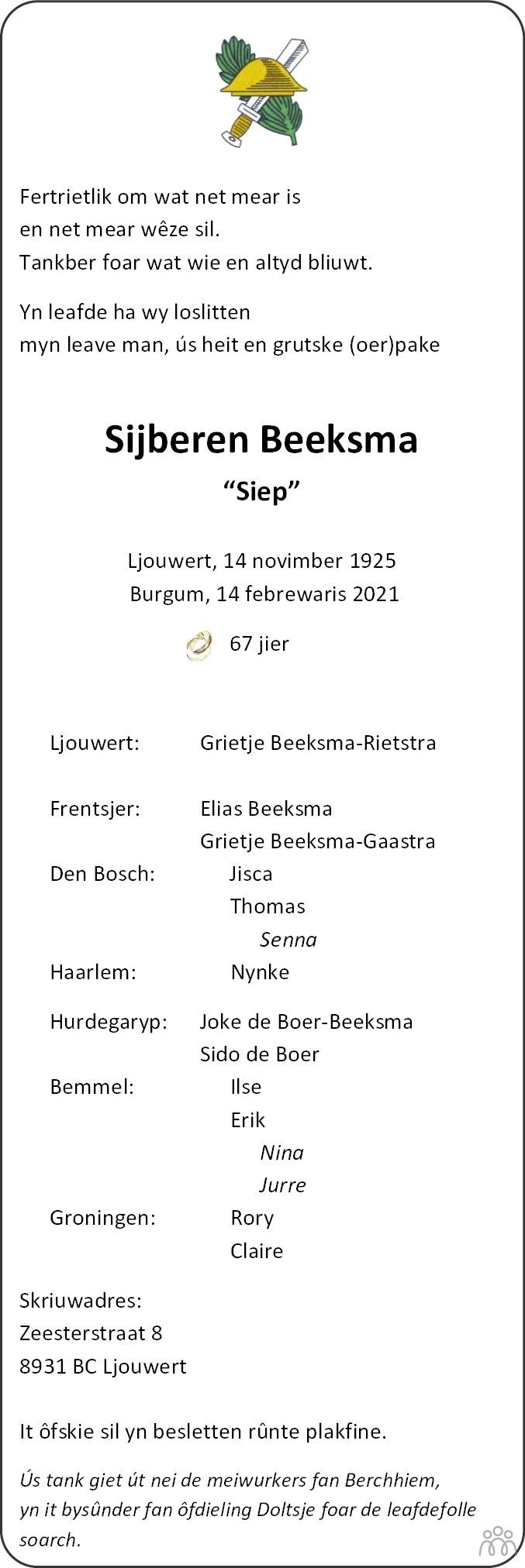Overlijdensbericht van Sijberen (Siep) Beeksma in Leeuwarder Courant