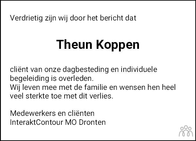 Overlijdensbericht van Theun Koppen in Flevopost Dronten