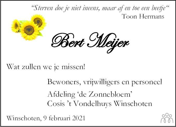 Overlijdensbericht van Egbert (Bert) Meijer in Dagblad van het Noorden