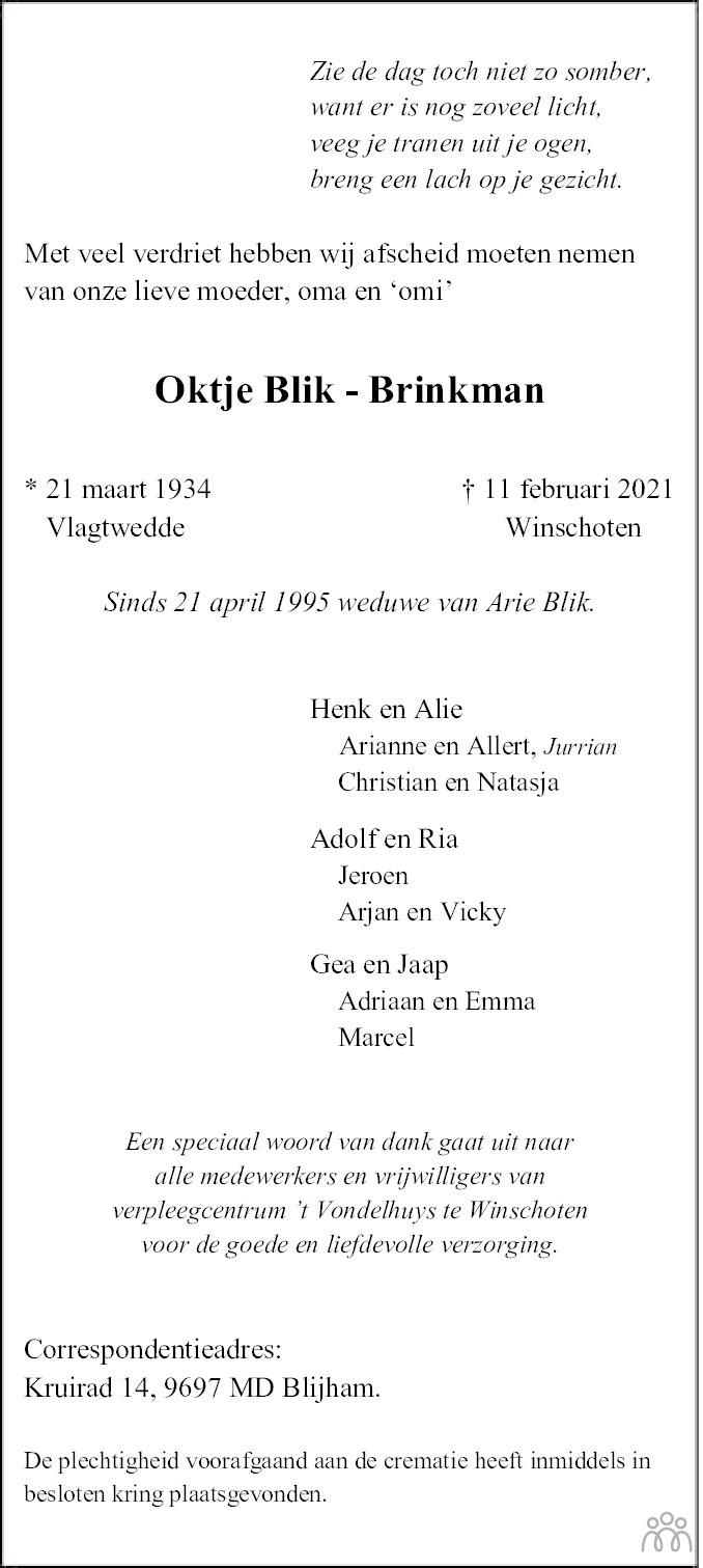 Overlijdensbericht van Oktje Blik-Brinkman in Streekblad/Pekelder Streekblad