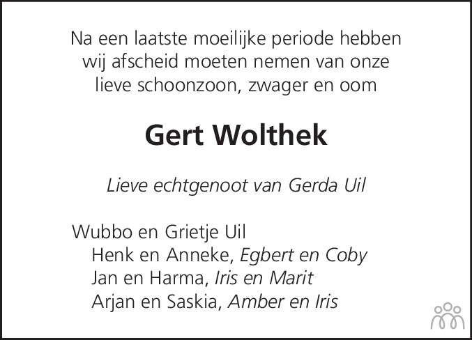 Overlijdensbericht van Gert Wolthek in Streekblad/Pekelder Streekblad