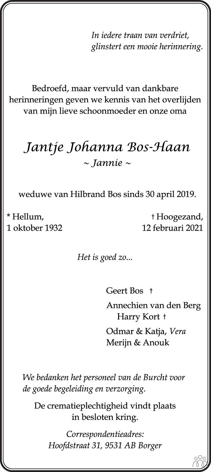 Overlijdensbericht van Jantje (Jannie) Bos-Haan in Dagblad van het Noorden