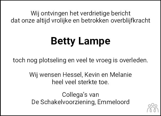 Overlijdensbericht van Betty Lampe-Betten in Noordoostpolder