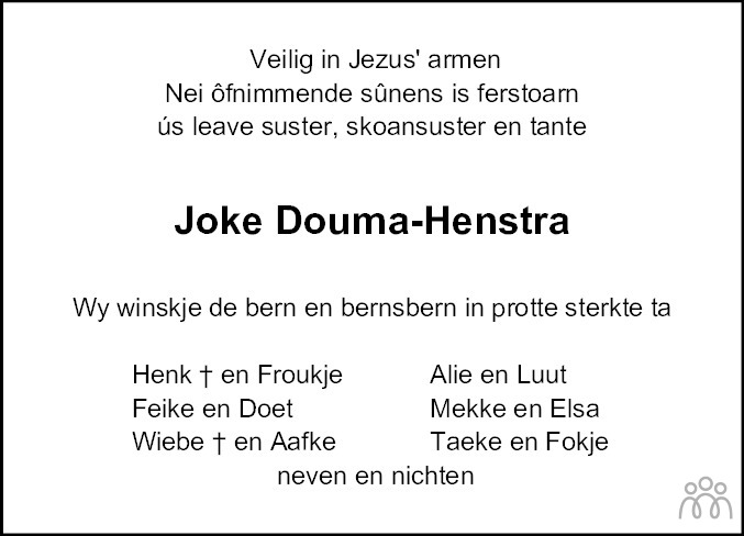 Overlijdensbericht van Joke Douma-Henstra in Dokkum Kollum Combinatie
