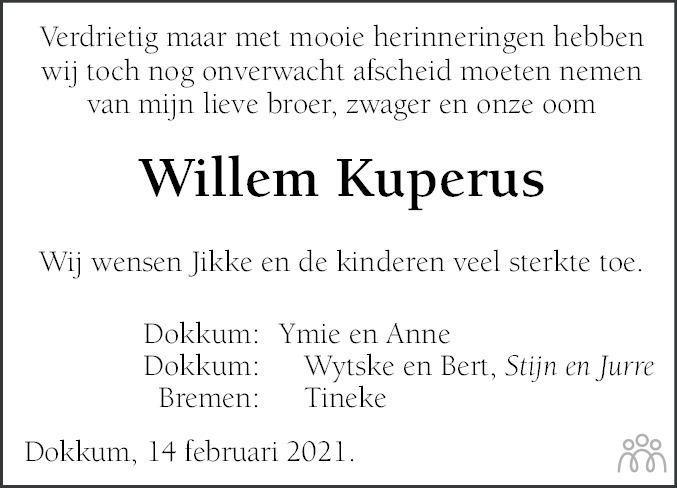 Overlijdensbericht van Willem Kuperus in Leeuwarder Courant