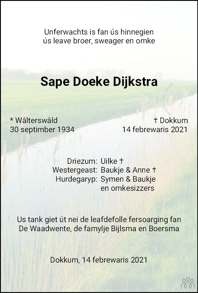 Overlijdensbericht van Sape Doeke Dijkstra in Dokkum Kollum Combinatie