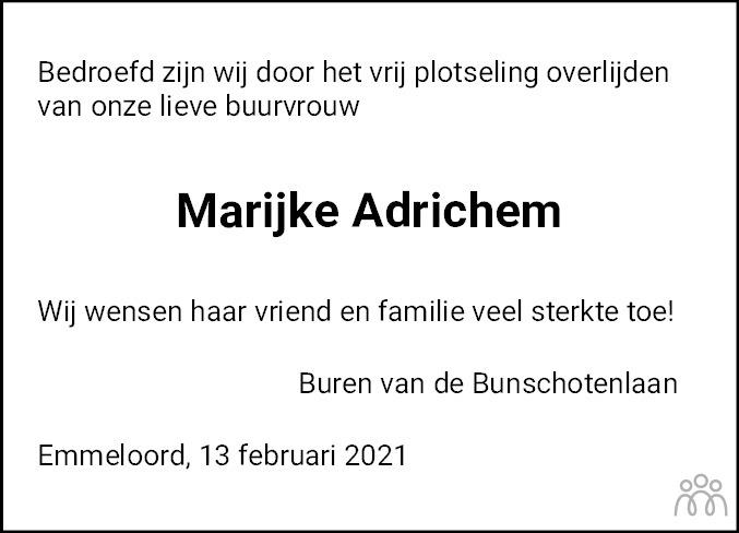 Overlijdensbericht van Maria Johanna Geertruida (Marijke) Laffort-Adrichem in Noordoostpolder