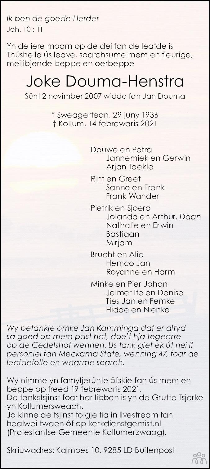 Overlijdensbericht van Joke Douma-Henstra in Leeuwarder Courant