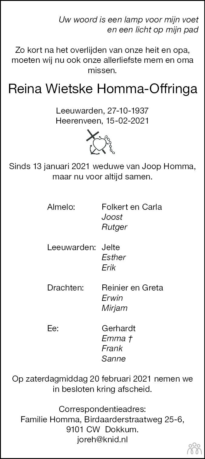 Overlijdensbericht van Reina Wietske Homma-Offringa in Leeuwarder Courant