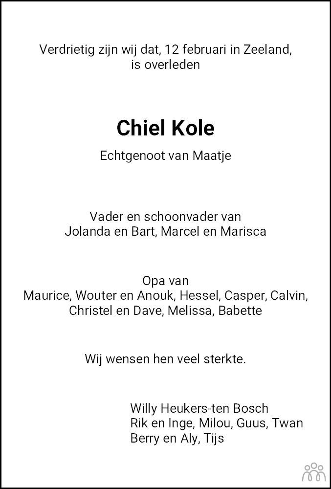 Overlijdensbericht van Machiel Kole in Noordoostpolder