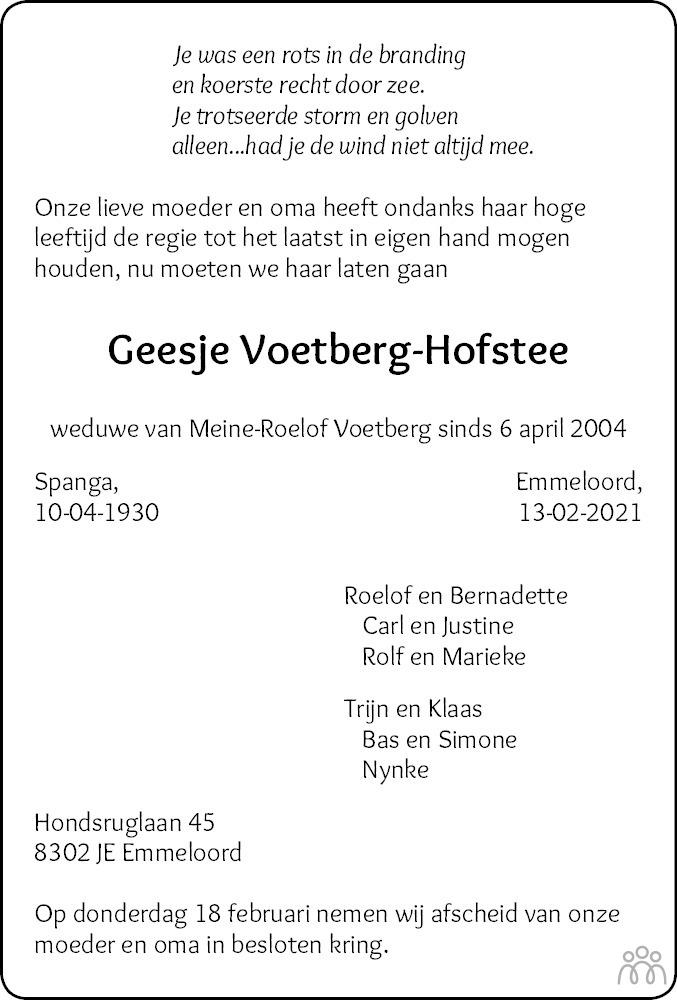 Overlijdensbericht van Geesje Voetberg-Hofstee in Noordoostpolder