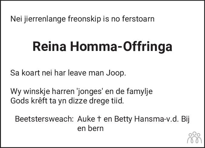 Overlijdensbericht van Reina Homma-Offringa in Friesch Dagblad