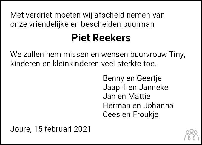 Overlijdensbericht van Piet Reekers in Leeuwarder Courant