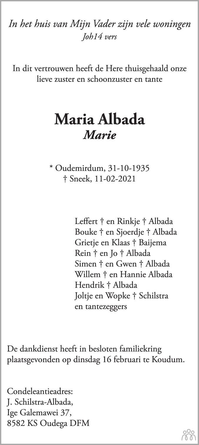 Overlijdensbericht van Maria (Marie) Albada in Balkster Courant