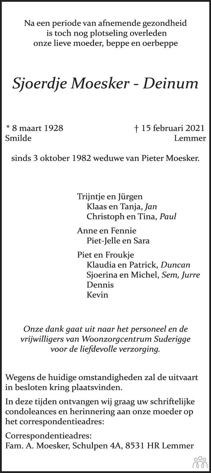 Overlijdensbericht van Sjoerdje Moesker-Deinum in Leeuwarder Courant