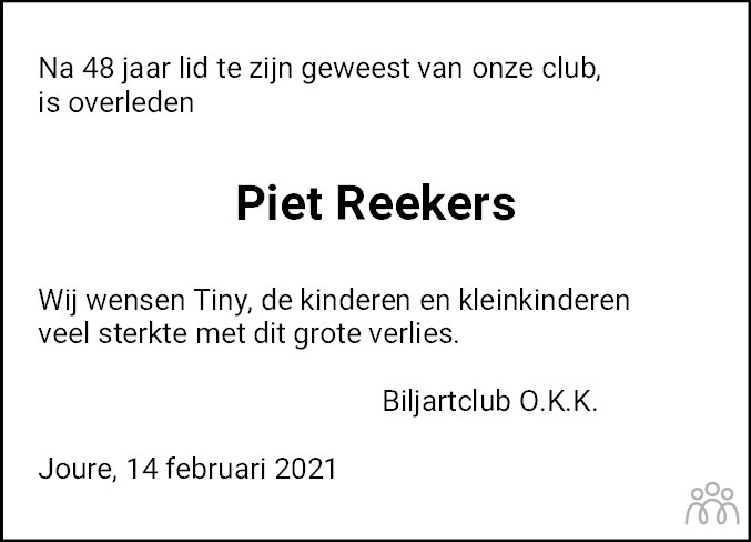 Overlijdensbericht van Piet Reekers in Jouster Courant