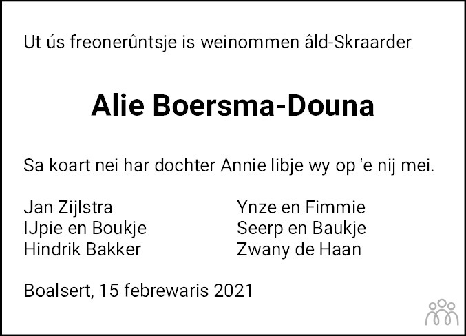 Overlijdensbericht van Alie Boersma-Douna in Bolswards Nieuwsblad