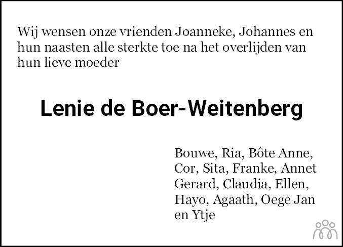 Overlijdensbericht van Lenie de Boer-Weitenberg in Bolswards Nieuwsblad