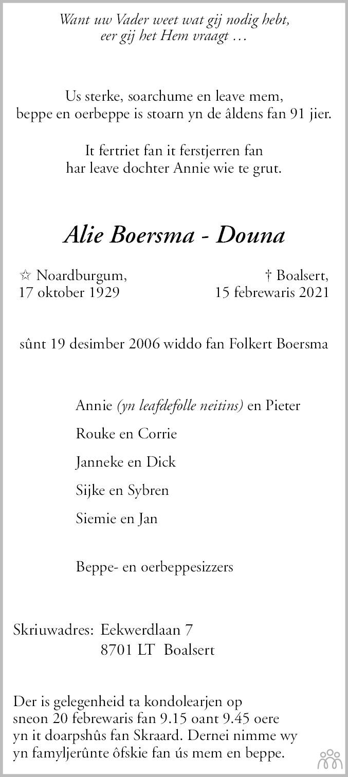 Overlijdensbericht van Alie Boersma-Douna in Leeuwarder Courant