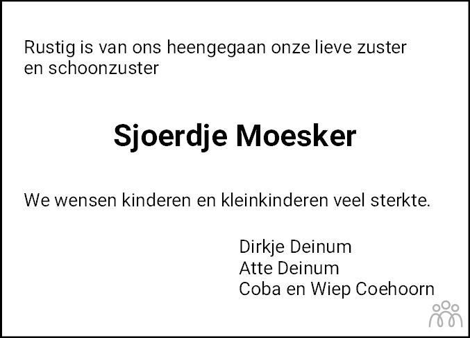 Overlijdensbericht van Sjoerdje Moesker-Deinum in Jouster Courant
