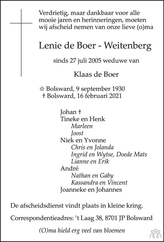 Overlijdensbericht van Lenie de Boer-Weitenberg in Leeuwarder Courant