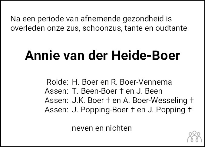 Overlijdensbericht van Annie van der Heide-Boer in Dagblad van het Noorden