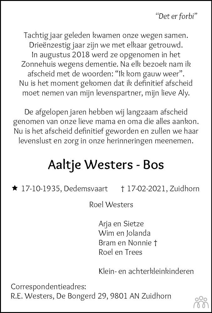 Overlijdensbericht van Aaltje Westers-Bos in Dagblad van het Noorden
