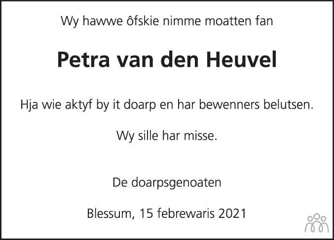 Overlijdensbericht van Petra Elisabeth van den Heuvel in Leeuwarder Courant